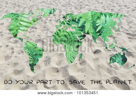 Do Your Part Against Desertification: World With Sand Instead Of Oceans