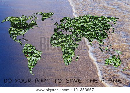 Surreal Image Of An Unpolluted World: Map With Leaf Fill And Water Background