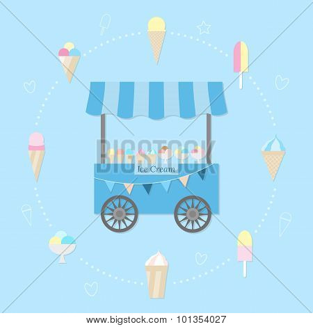 Cart With Ice Cream.