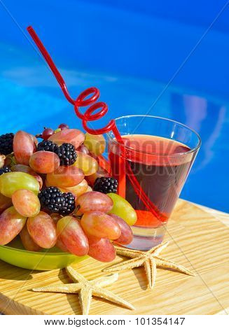 Fresh Drink With Grape And Blackberries