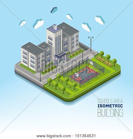 Isometric school area with basketball and garden
