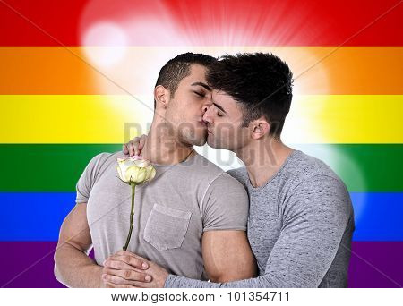 Gay Couple Of Homosexual Young Strong Men In Love On Valentines