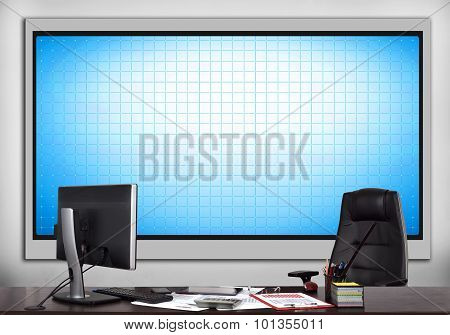 Office With Blank Plasma Panel