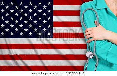 Female Doctor And Usa Flag