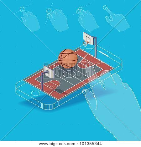 Flat vector Isometric basketball court