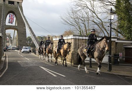 Bristol, Uk - Dec 18: Mounted Policemen Crossing The Cifton Suspension Bridge On Dec 18 2014 In Bris