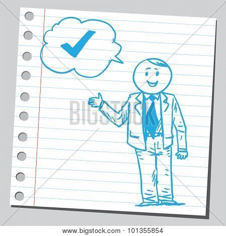 Businessman speaking check mark