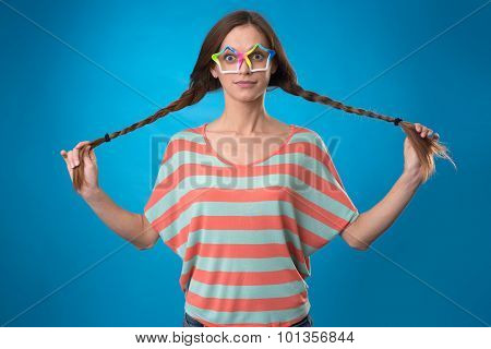 Funny Girl With Pigtails
