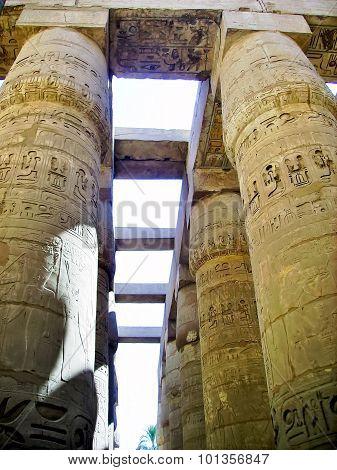 Hieroglyphics on pylon