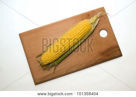 Ripe Fruit Of Corn On Over White
