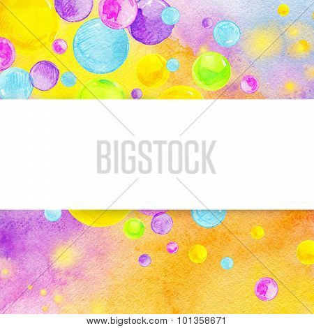 Colorful watercolor bubbles on rainbow background.