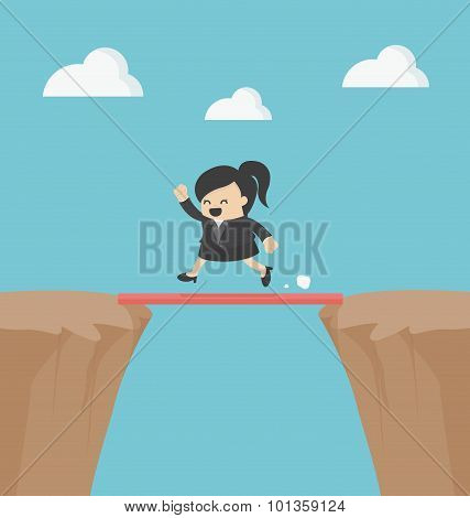 Business Cross The Cliff With Wonderful Wood