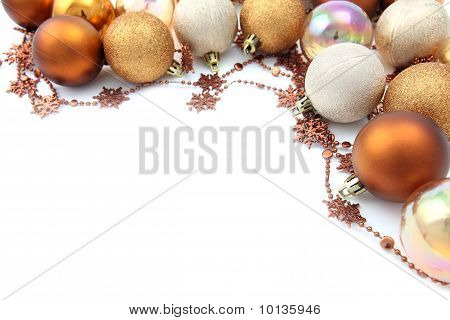 Gold Christmas ornament border