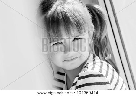 Portrait Sad Little Girl Sitting