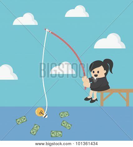 Businessman Fishing Money