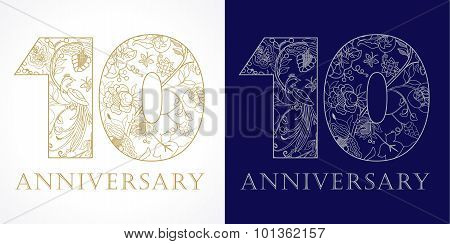 10 anniversary vintage logo.