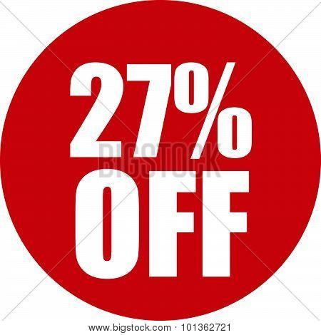 27 Percent Off Icon