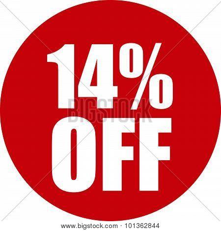 14 Percent Off Icon