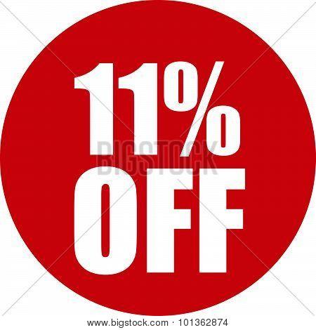 11 Percent Off Icon