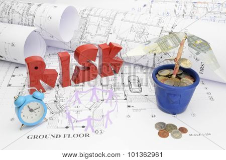 Blueprints, Risk, Time, Manpower, And Money  In Construction Project