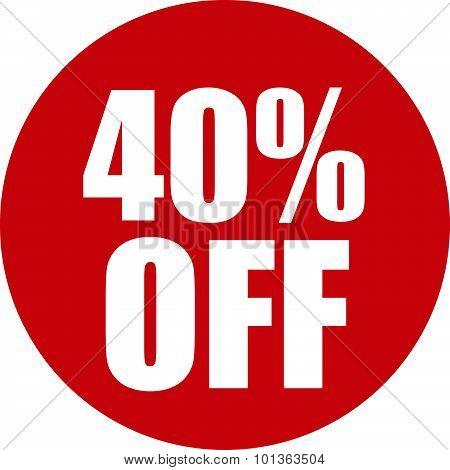 40 Percent Off Icon