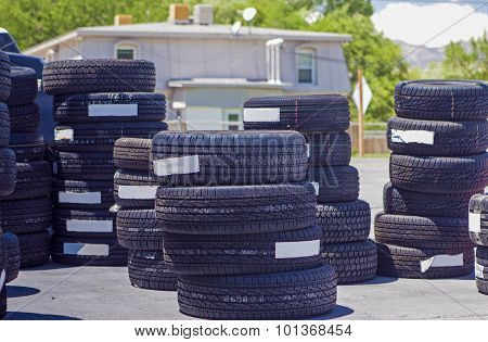 Plenty Of Brand New Tires Located Outside Of The Auto Repair Shop In The United States
