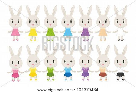 Set Of Cute Bunnies Vector