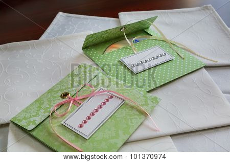 Envelopes For Disks. White Napkins