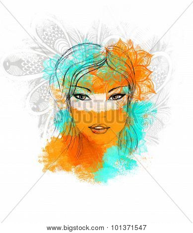 Poster with Beautiful Girl cyan orange decoration