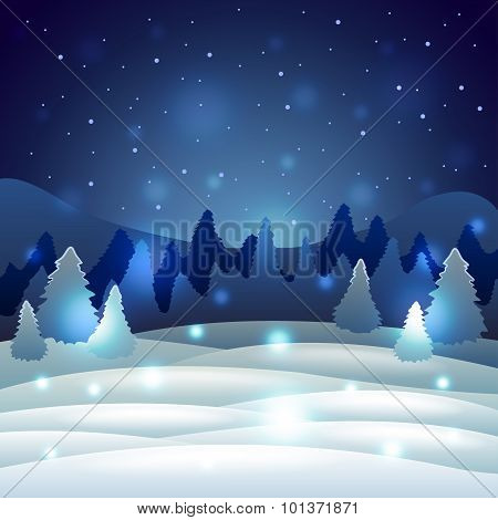 Christmas Winter Scenery With Snowy Nature