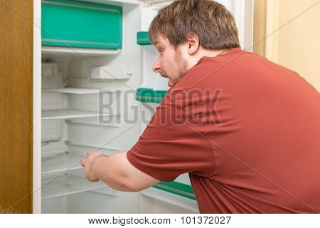 Overweight Man In Front Of A Empty Fridge