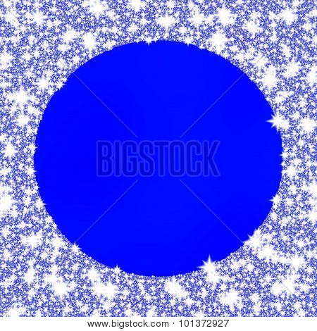 Decorative frozen circular frame on blue monochromatic background.
