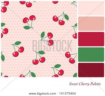 Sweet, red cherries, on retro style pink polka dot background. Seamless design set in a color palette with complimentary color swatches. EPS10 vector format.