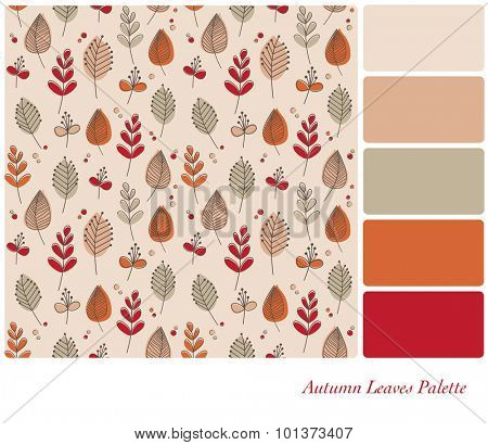 Autumn leaves and flowers in retro style and color scheme. Seamless design set in a color palette with complimentary color swatches. EPS10 vector format.