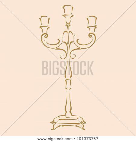 Sketched candle holder.