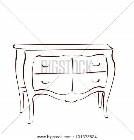 Sketched chest of drawers.