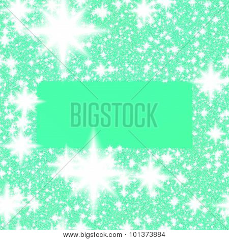border of white stars or snowflakes on turquoise-green background