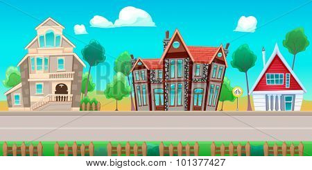 Road with houses. The sides repeat seamlessly for a possible, continuous animation for games and graphics.