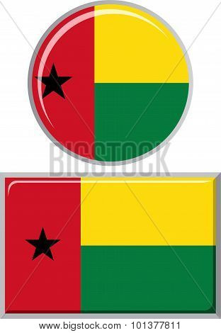 Guinea-Bissau round and square icon flag. Vector illustration.