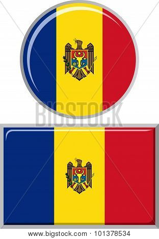 Moldovan round and square icon flag. Vector illustration.