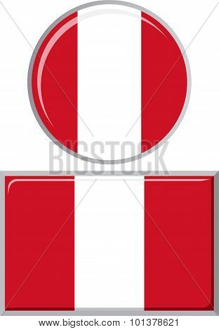 Peruvian round and square icon flag. Vector illustration.