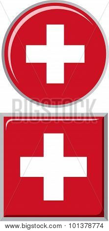 Swiss round and square icon flag. Vector illustration.
