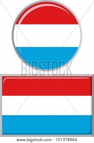 Luxembourg round and square icon flag. Vector illustration.