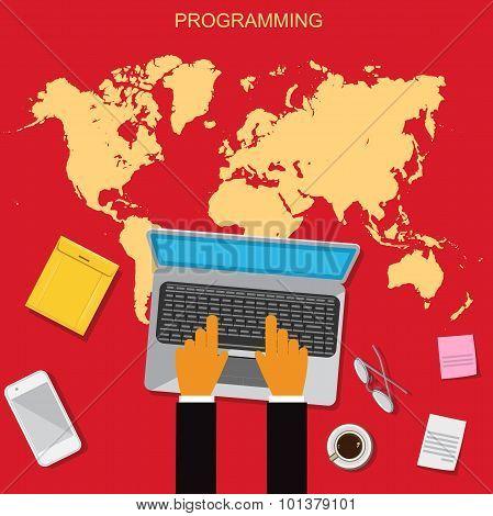 Web, HTML, programming, flat, illustration, vector illustration in flat design for web sites, Infogr