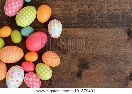 top view colorful easter eggs