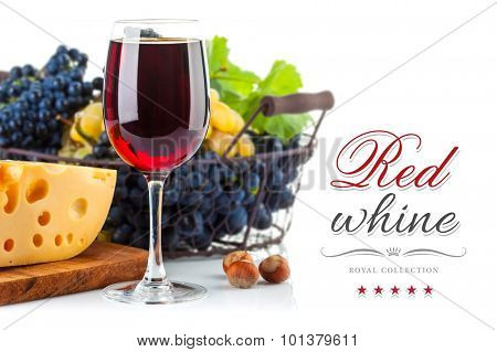 Glass red wine with grapes and cheese. Isolated on white background