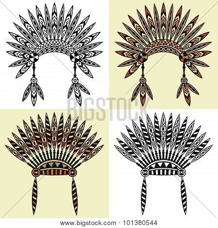 set of four native american head wear with ethnic ornament