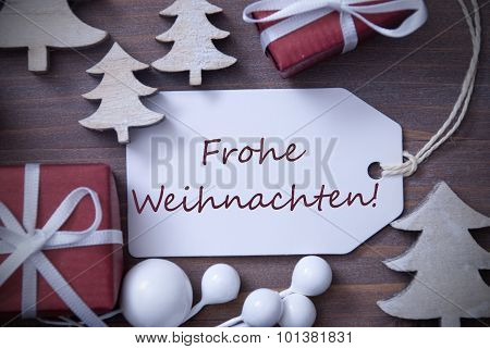 Label Gift Tree Frohe Weihnachten Means Merry Christmas
