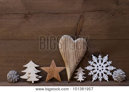 Rustic Christmas Decoration, Heart, Snowflake, Fire Cone, Tree