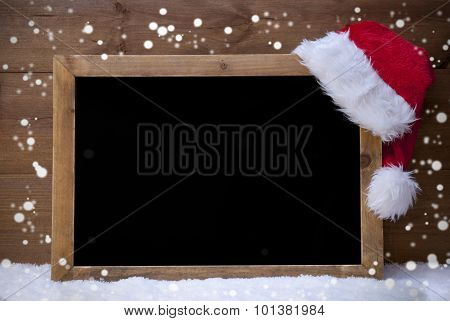 Christmas Blackboard, Santa Hat, Copy Space, Snow, Snowflakes